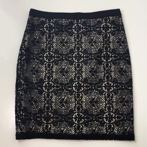 The Limited Cream & Black Lace Skirt